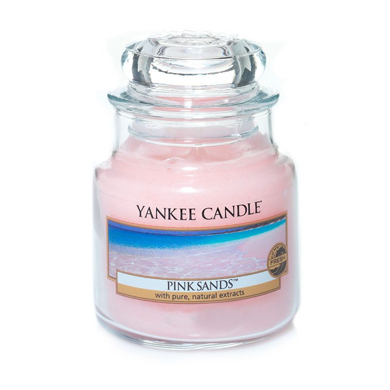 Vela Yankee Candle formato jarra pequeña con aroma pink sands