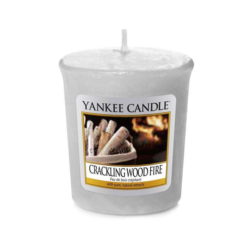 Vela Yankee Candle votiva con aroma a Crackling Wood Fire